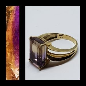 Vintage Ametrine 14K Solid Yellow Gold Ring